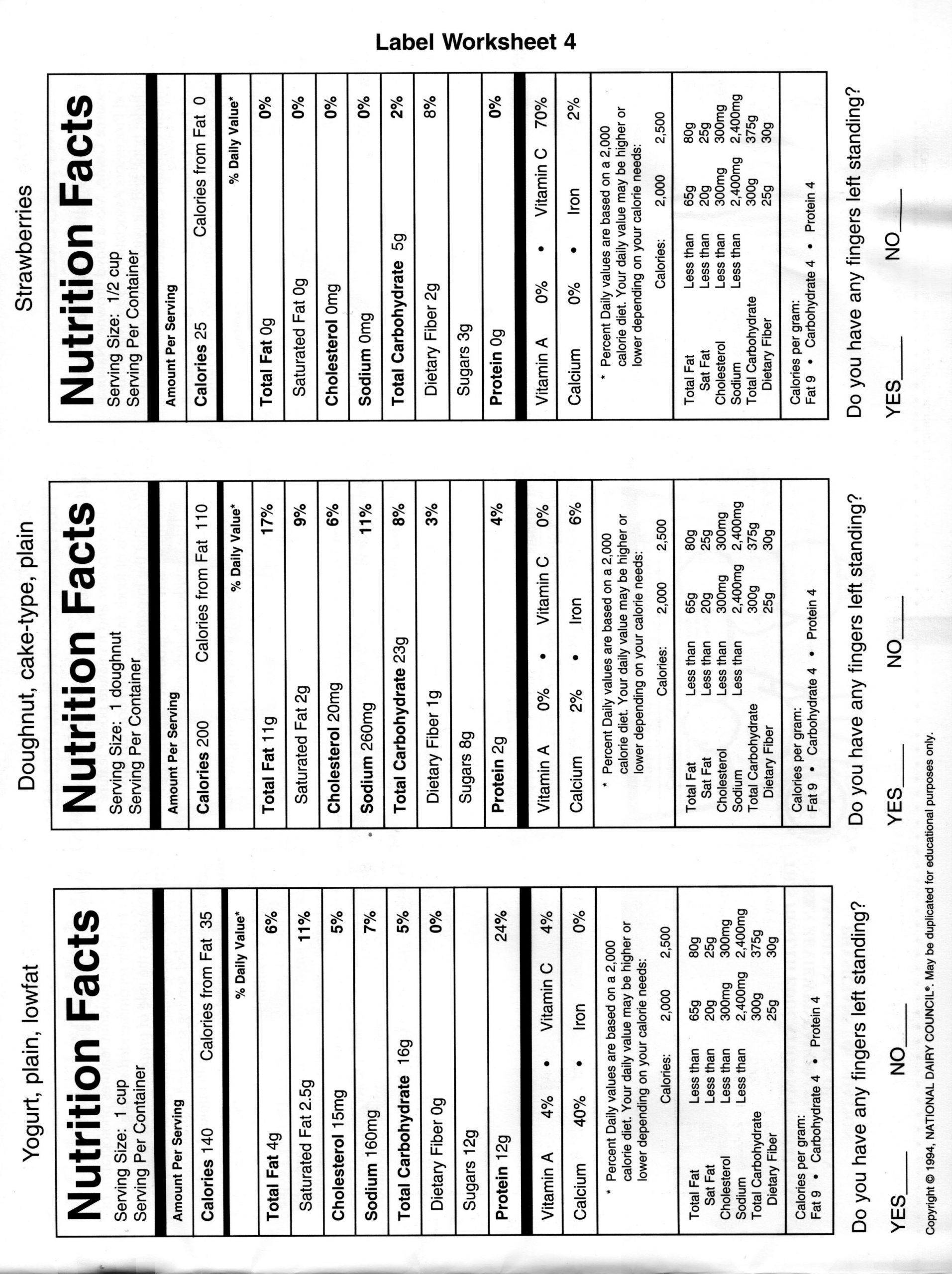 Reading Food Label Worksheet Nutrition Label Worksheet Key Ythoreccio