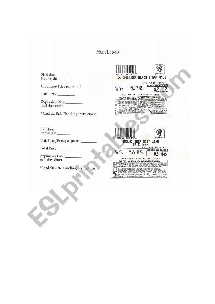 Reading Food Label Worksheet Practice Reading Food Labels Esl Worksheet by Ingrid412