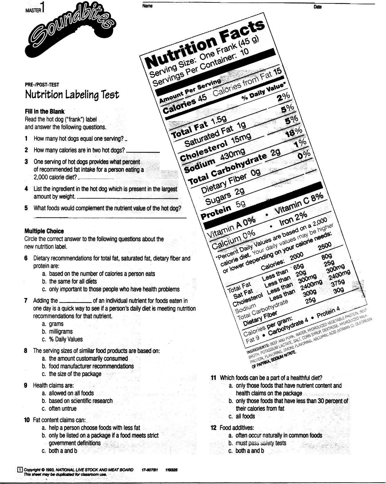 Reading Food Label Worksheet Reading Food Label Pdf
