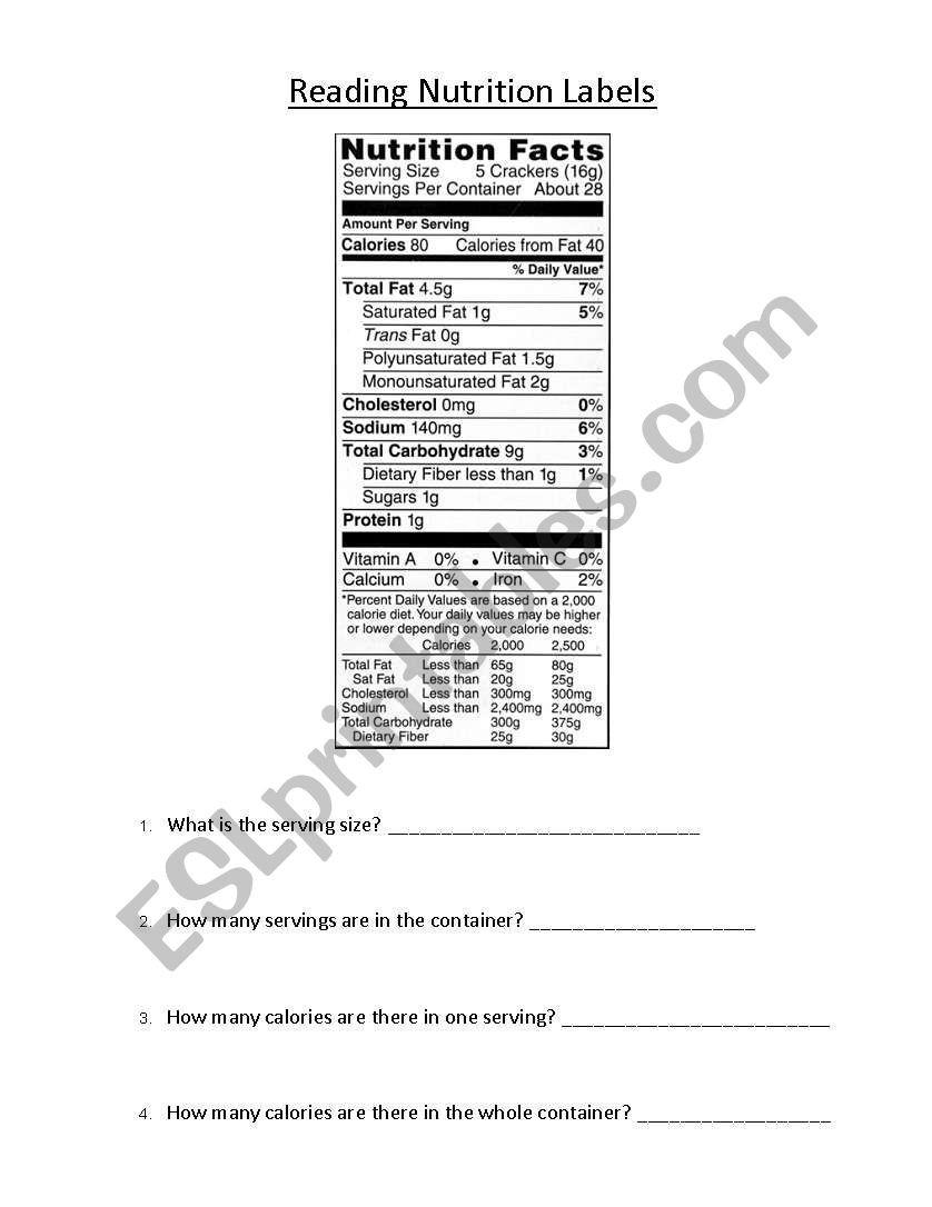 Reading Food Label Worksheet Reading Nutrition Labels 1 Esl Worksheet by Ek207