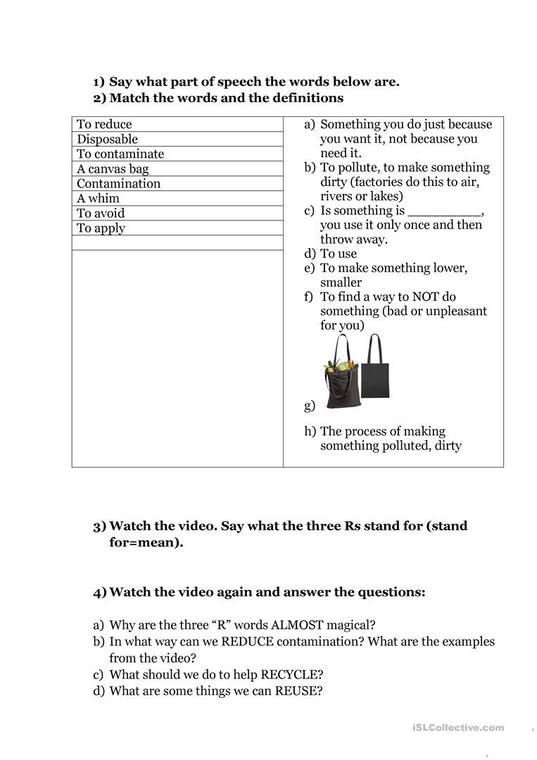 Reduce Reuse Recycle Worksheet Environment Reduce Reuse Recycle Video Lesson English