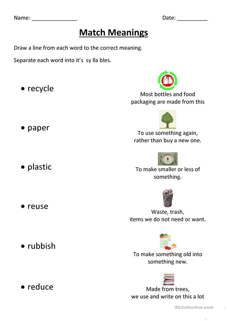 Reduce Reuse Recycle Worksheet Recycling Match English Esl Worksheets for Distance
