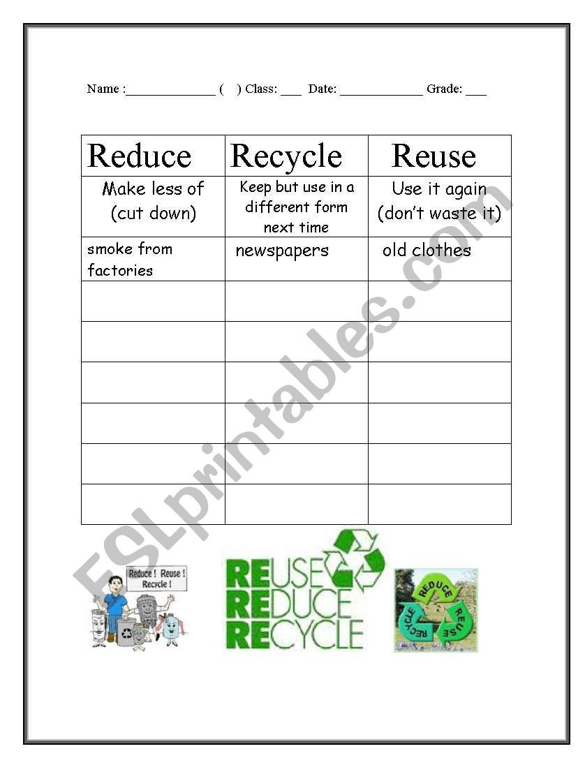 Reduce Reuse Recycle Worksheet Reduce Reuse and Recycle Esl Worksheet by Huangjason