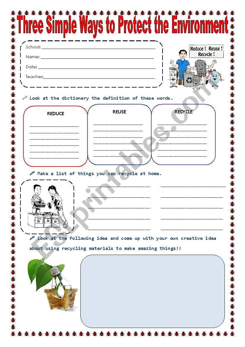 Reduce Reuse Recycle Worksheet Reduce Reuse and Recycle Esl Worksheet by sonyta04