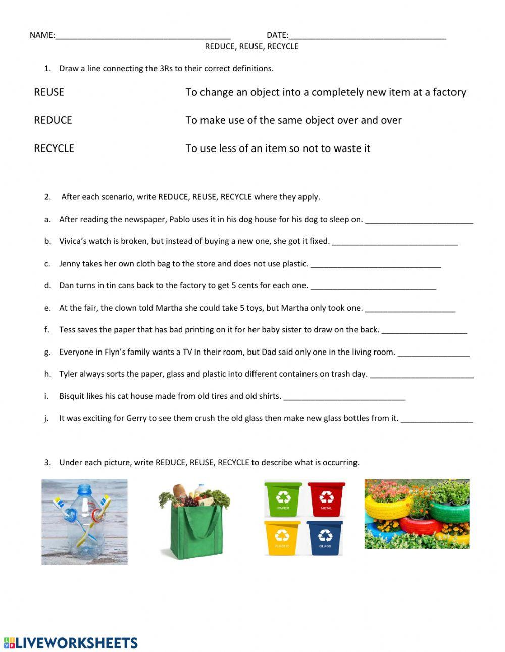 Reduce Reuse Recycle Worksheet Reduce Reuse Recycle Interactive Worksheet