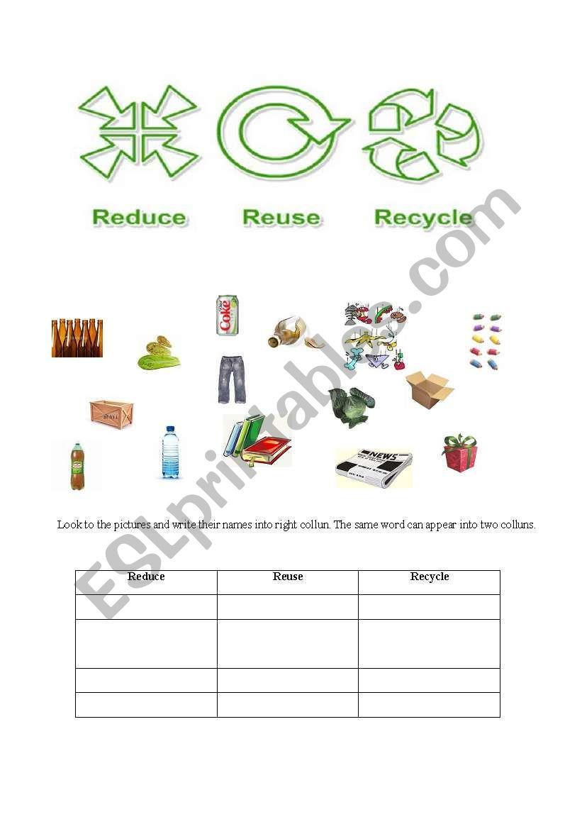 Reduce Reuse Recycle Worksheet Reduce Reuse Recycle Pg 1 Esl Worksheet by Profiza