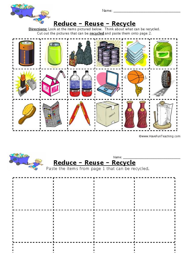 Reduce Reuse Recycle Worksheet Reduce Reuse Recycle Worksheet 1