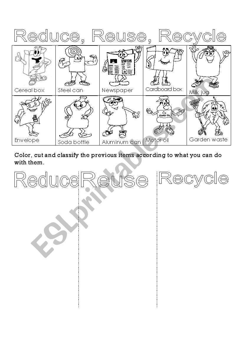 Reduce Reuse Recycle Worksheet Reduce Reuse Recycle Worksheet