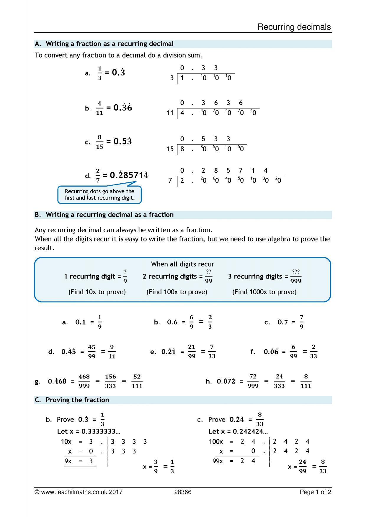 Repeating Decimals to Fractions Worksheet Equivalent Fractions Worksheet Ks3