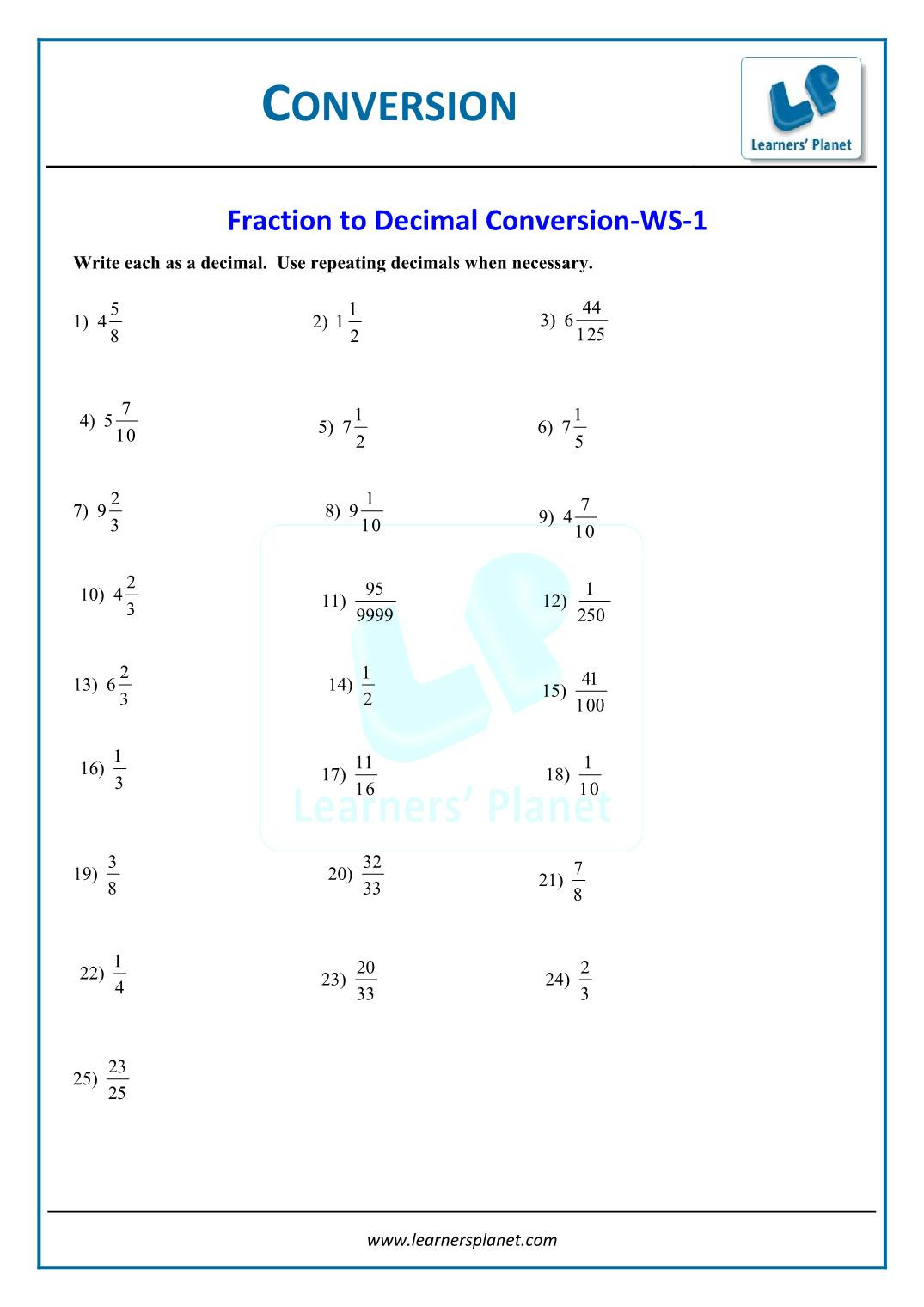 Repeating Decimals to Fractions Worksheet Grade 6 Math Worksheet Converting Decimals to Fractions