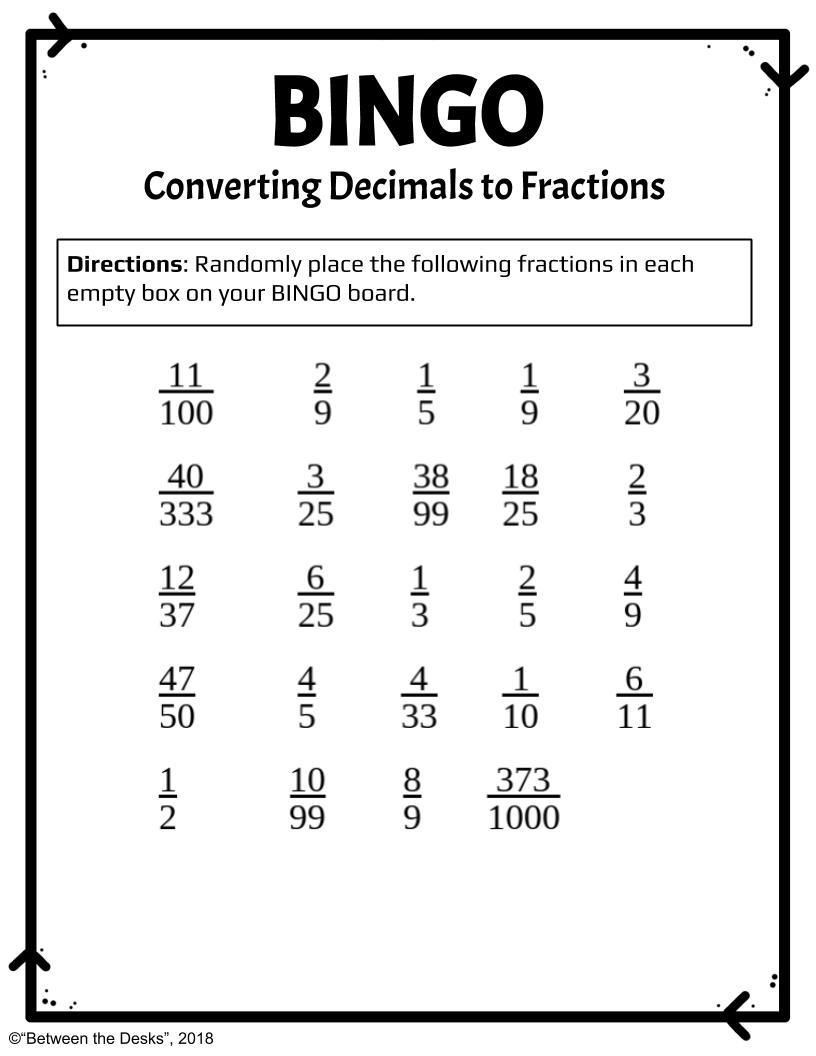 Repeating Decimals to Fractions Worksheet This Easy to Set Up Review Game Will Help Students Practice