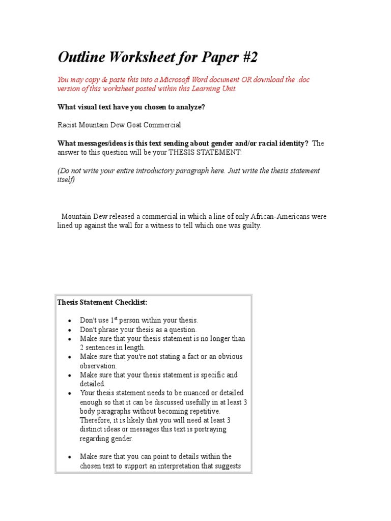 Rhetorical Analysis Outline Worksheet Outline Worksheet for Paper 2 Blended thesis