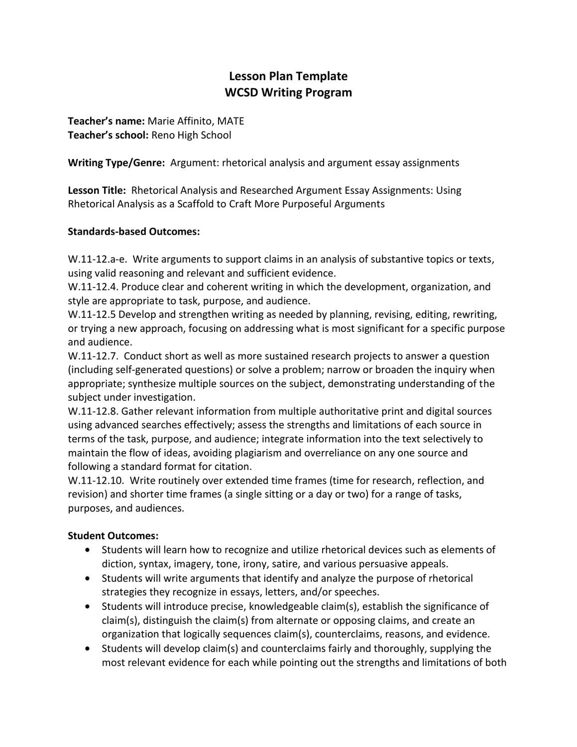 Rhetorical Analysis Outline Worksheet Rhetorical Analysis and Researched Argument Essay