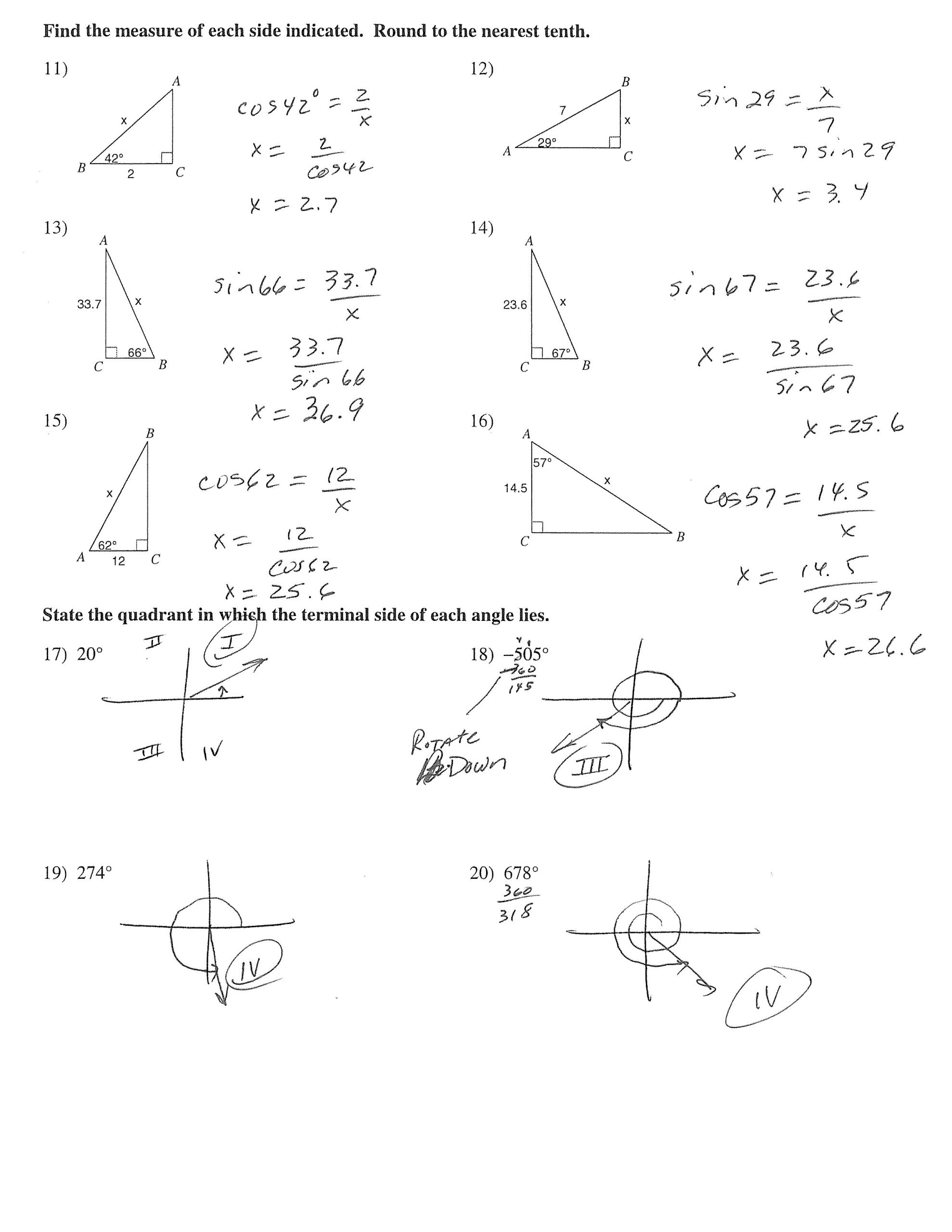 Right Triangle Trig Worksheet Answers area A Triangle Using Sine Worksheet – Colabug