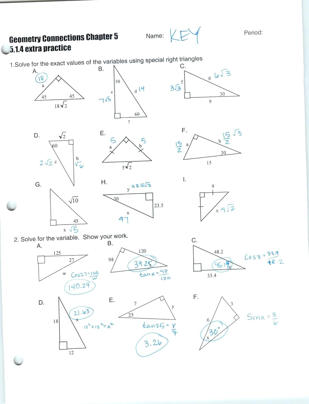 Right Triangle Trig Worksheet Answers Inverse Trig Functions Worksheet with Answers Nidecmege