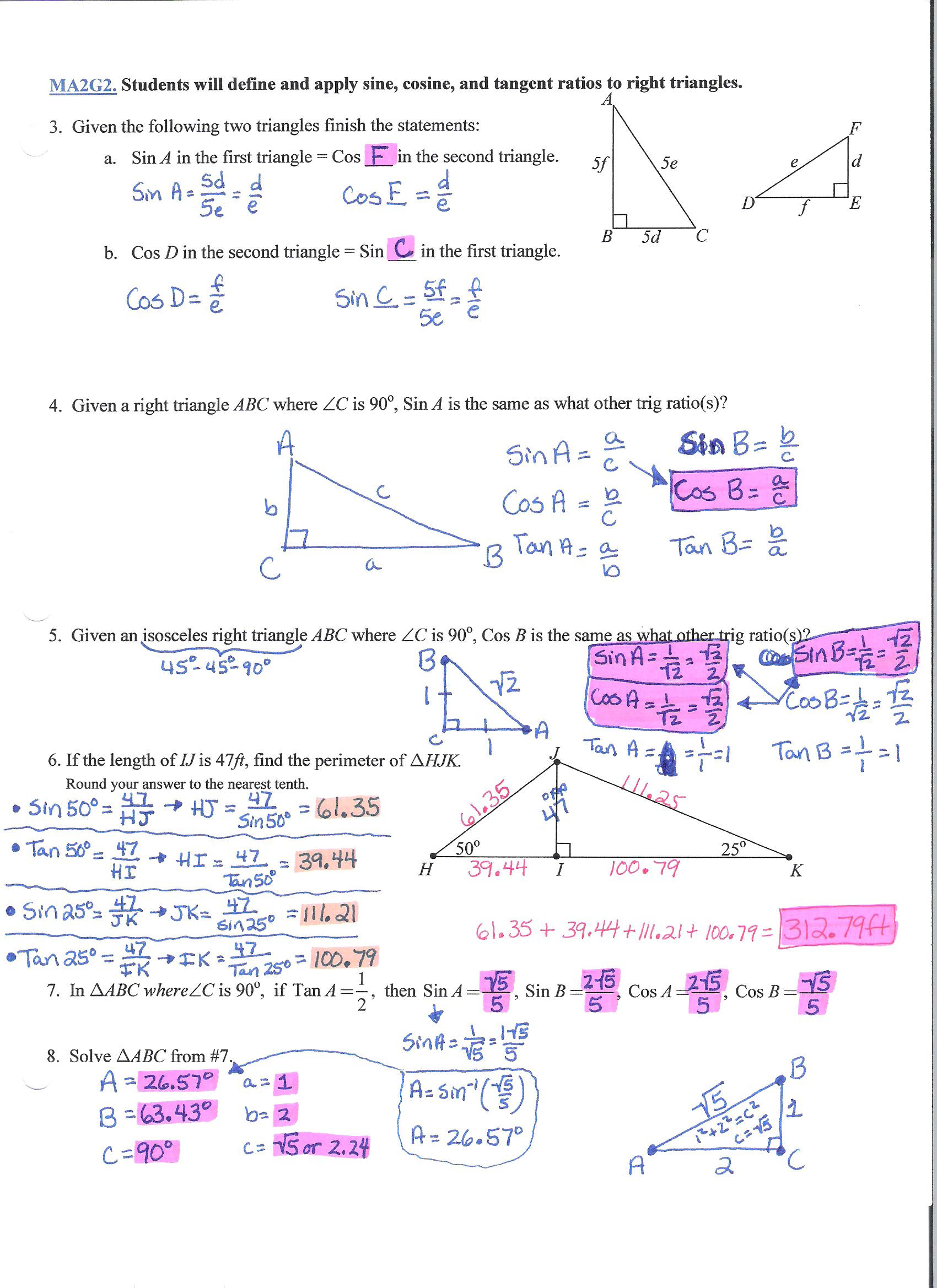 Right Triangle Trig Worksheet Answers Trigonometry Ratios Worksheet – Colabug