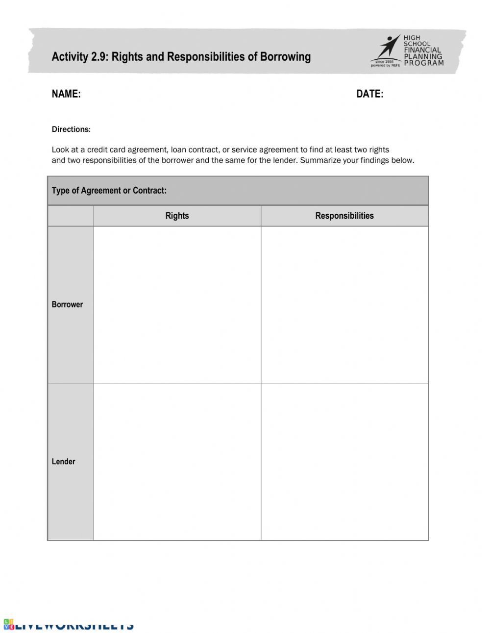 Rights and Responsibilities Worksheet Activity 2 9 Interactive Worksheet