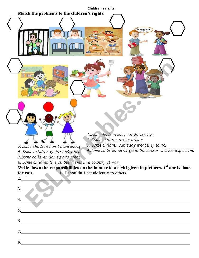 Rights and Responsibilities Worksheet Children´s Rights Esl Worksheet by Emi123