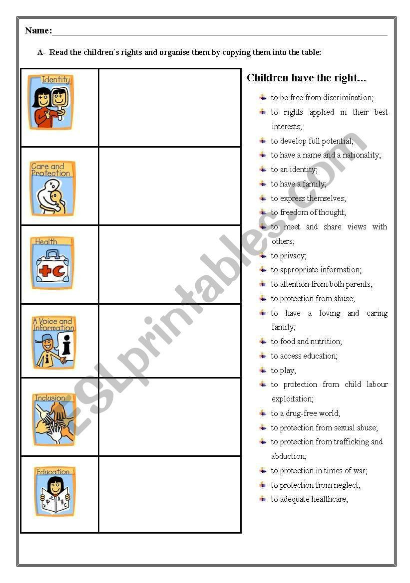 Rights and Responsibilities Worksheet Children´s Rights Worksheet Esl Worksheet by Ringneck