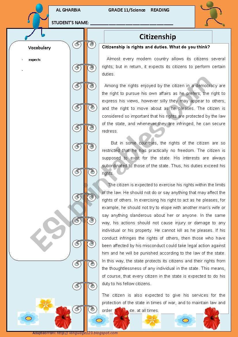 Rights and Responsibilities Worksheet Citizenship is Rights and Responsibilities Esl Worksheet