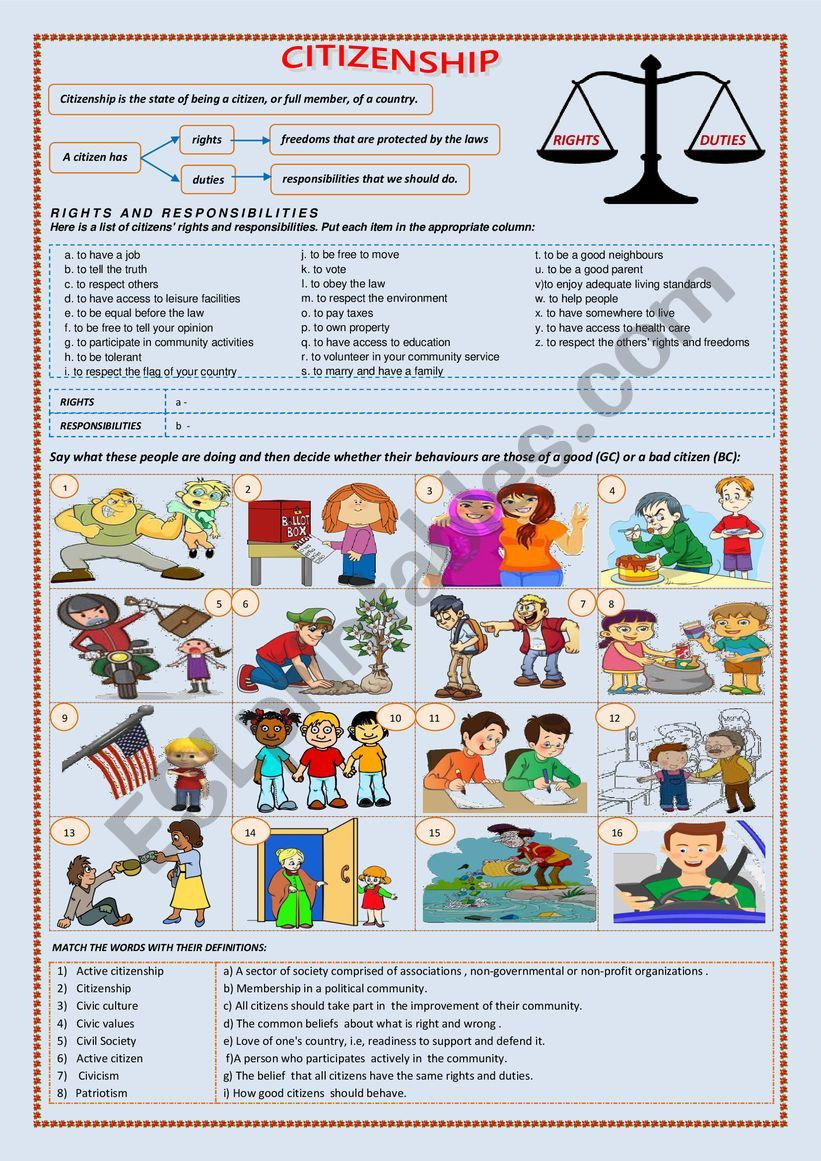 Rights and Responsibilities Worksheet Citizenship Rights and Responsibilities Esl Worksheet by