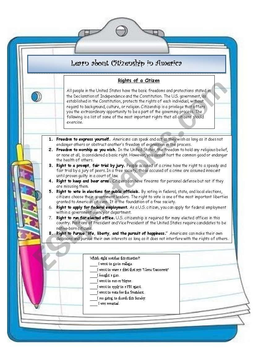 Rights and Responsibilities Worksheet Learn About the Rights and Responsibilities Of Us Citizens