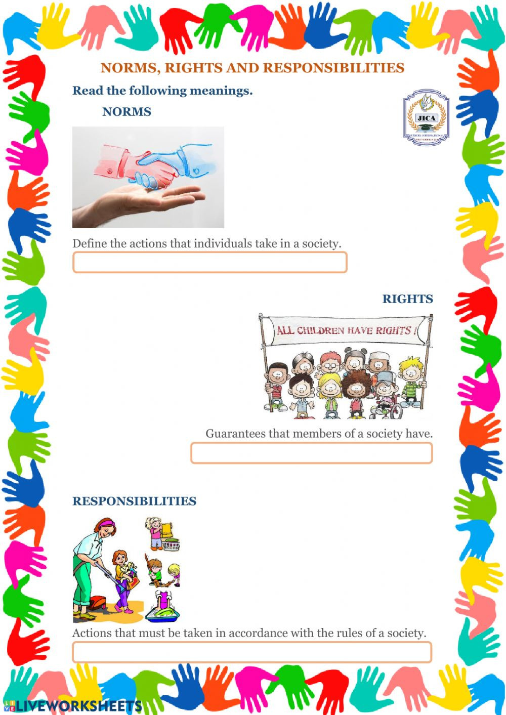 Rights and Responsibilities Worksheet norms Rights and Responsibilities Interactive Worksheet