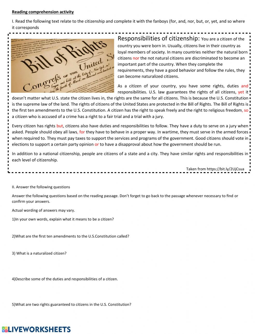 Rights and Responsibilities Worksheet Rights and Duties Worksheet