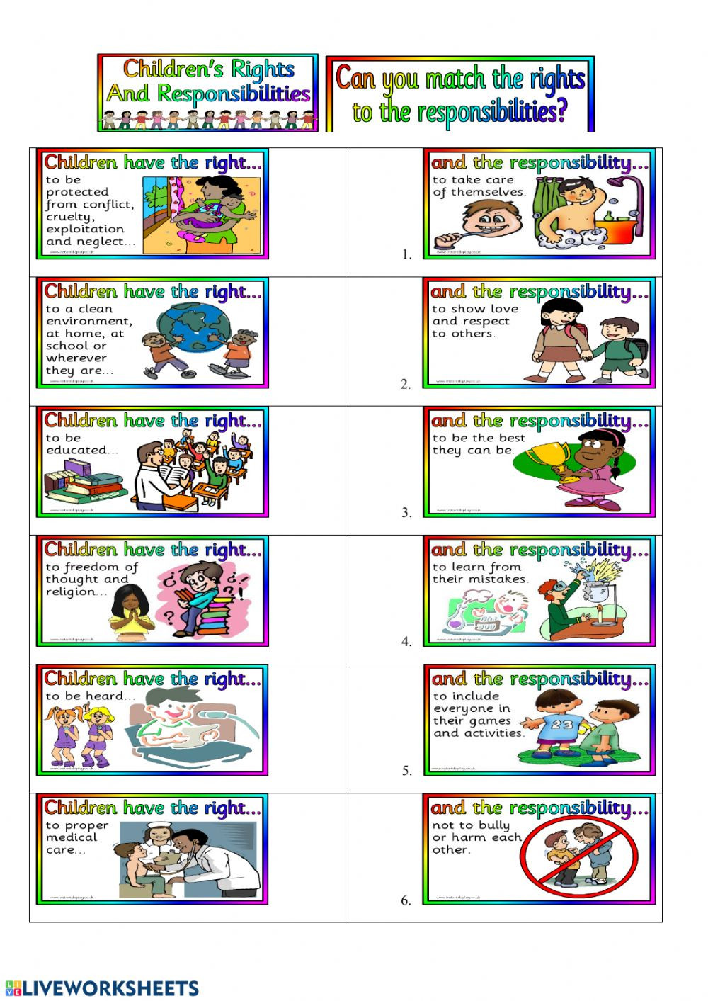 Rights and Responsibilities Worksheet Rights and Responsabilities Interactive Worksheet