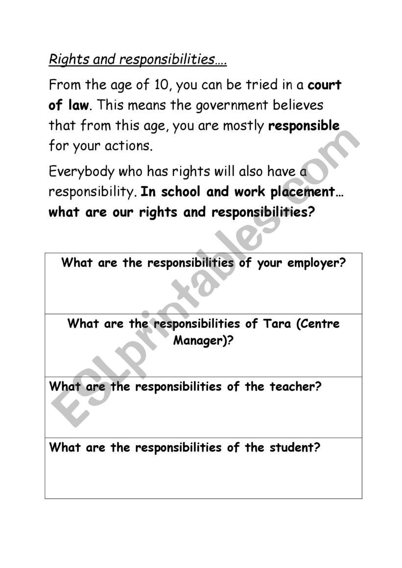 Rights and Responsibilities Worksheet Rights and Responsibilities Esl Worksheet by Nhynes1