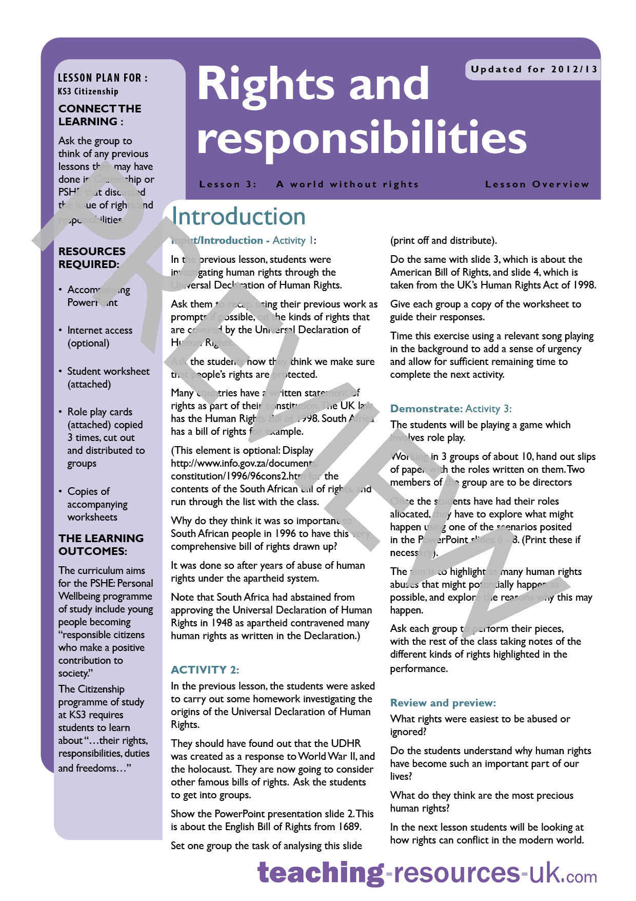 Rights and Responsibilities Worksheet Schools Teaching Resources Support Resources Free and