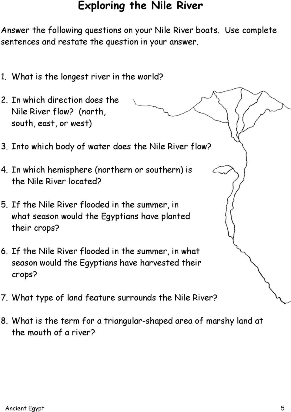 River Valley Civilizations Worksheet Answers Ancient Egypt Handouts Pdf Free Download