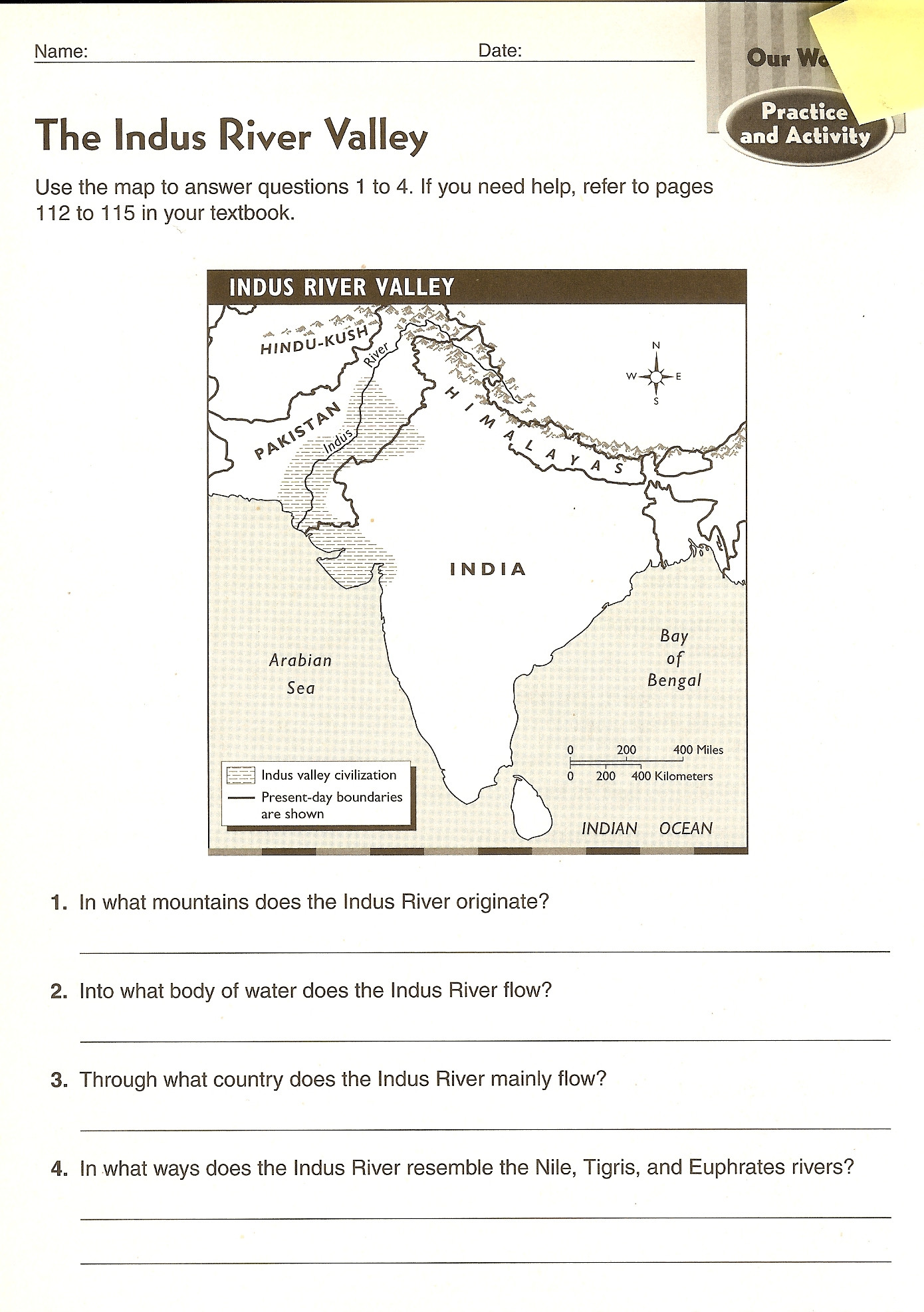 River Valley Civilizations Worksheet Answers Ancient India Worksheets