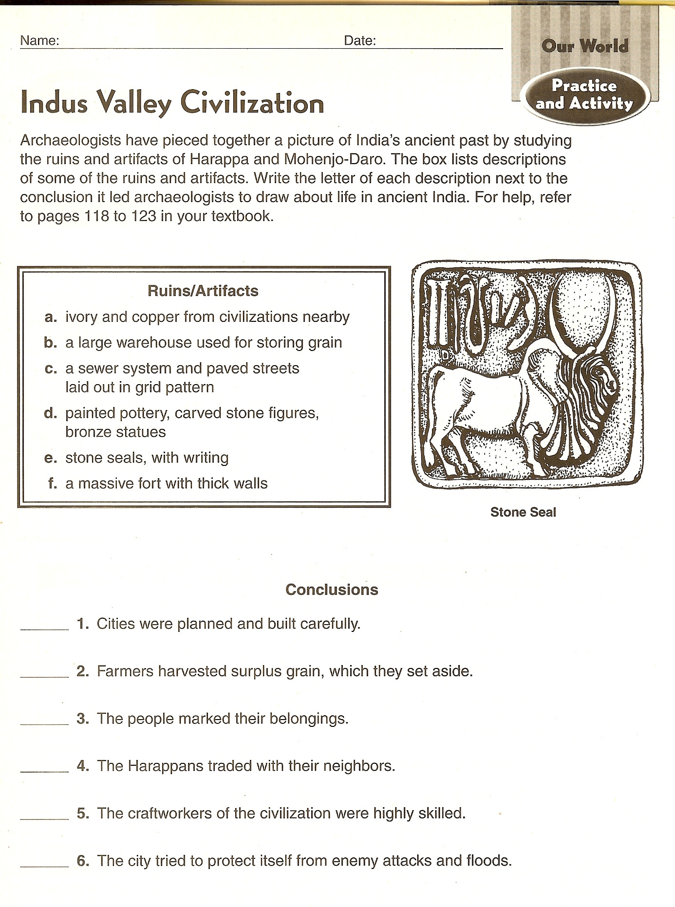 River Valley Civilizations Worksheet Answers Archaeology Answers About Ancient Civilizations Indus
