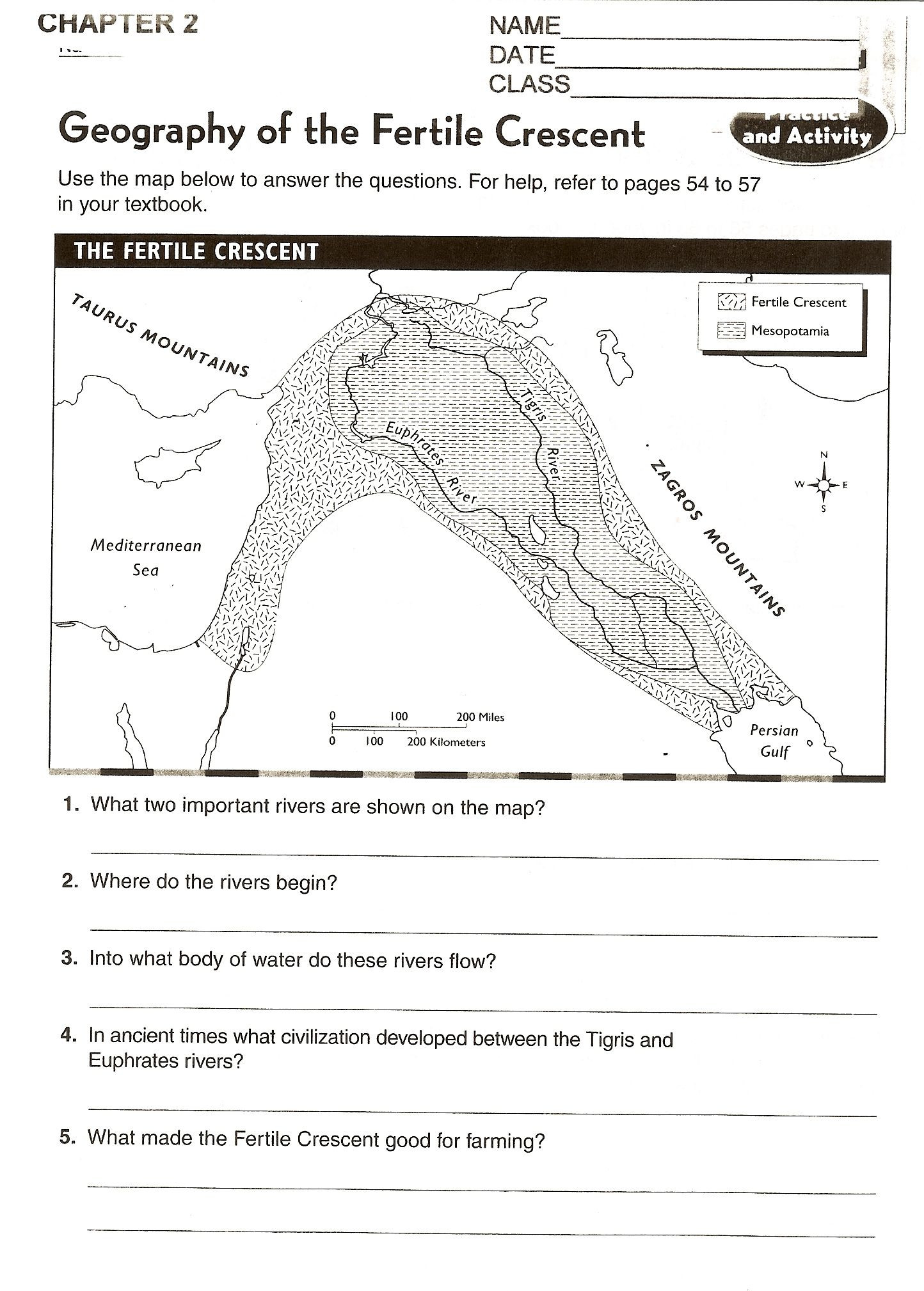 River Valley Civilizations Worksheet Answers Chapter 2 Mesopotamia