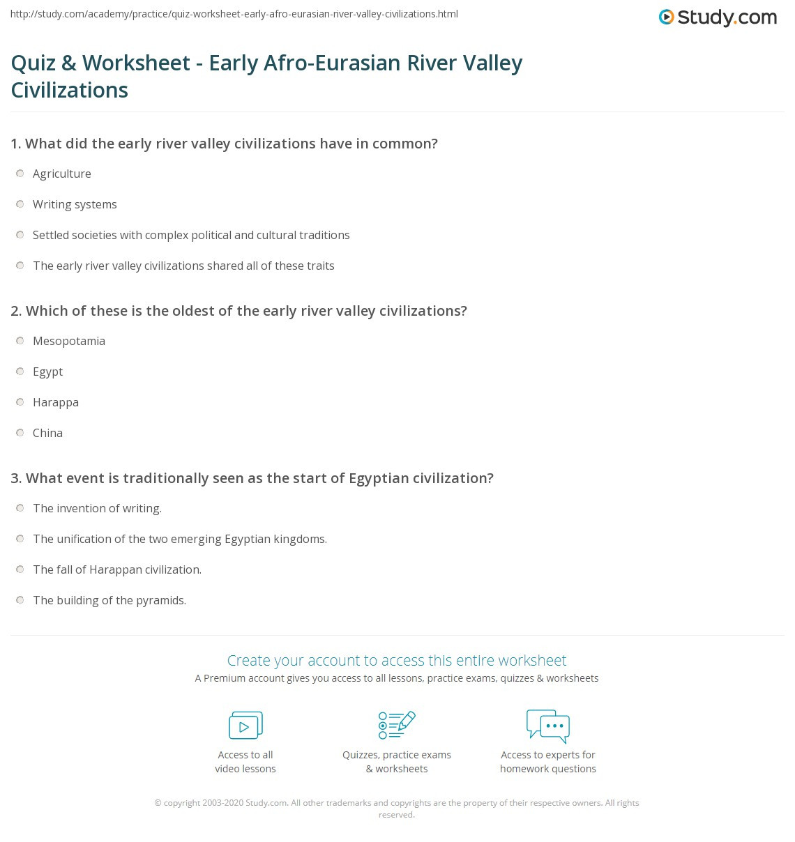 River Valley Civilizations Worksheet Answers Quiz & Worksheet Early Afro Eurasian River Valley