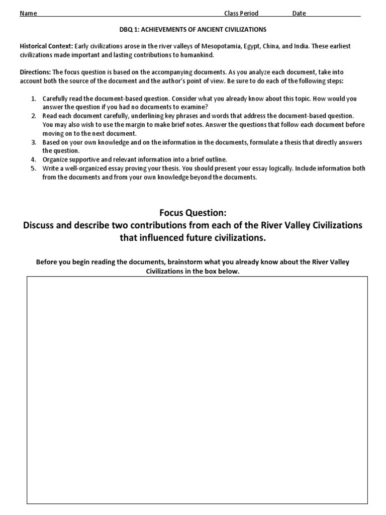 River Valley Civilizations Worksheet Answers River Valley Civilizations Dbq Confucianism