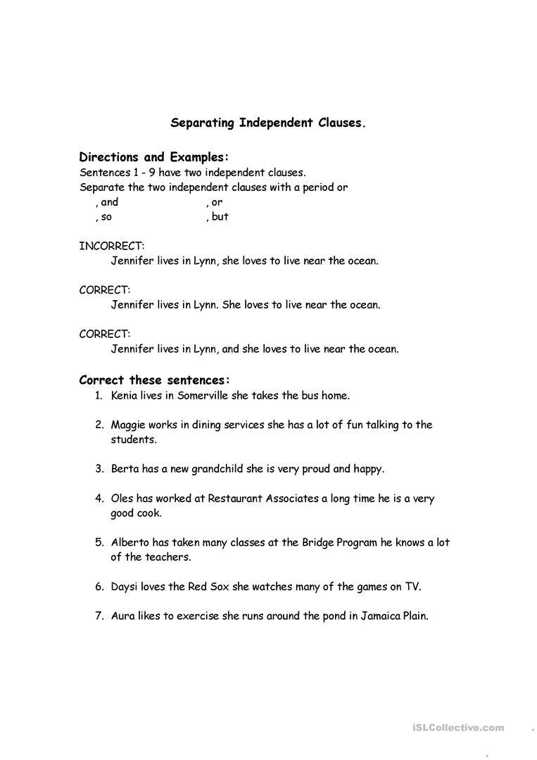 Run On Sentence Worksheet Correcting Run Sentences English Esl Worksheets for