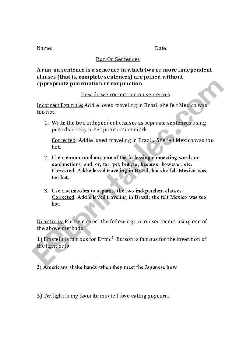 Run On Sentence Worksheet English Worksheets Run On Sentences