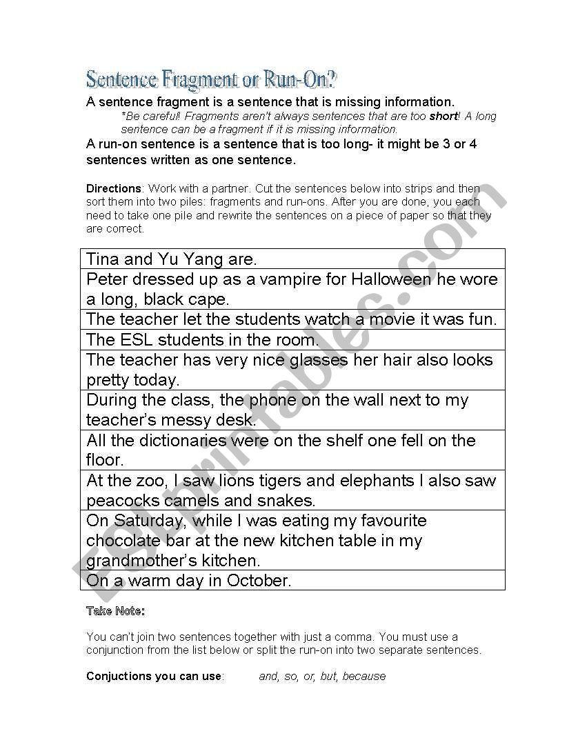 Run On Sentence Worksheet English Worksheets Sentence Fragment or Run On