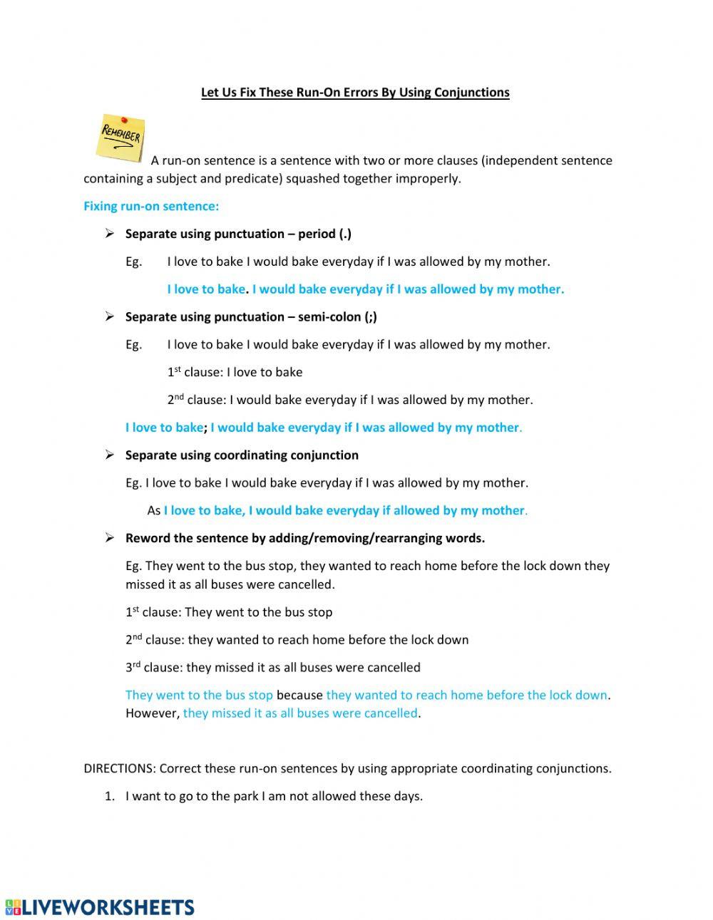 Run On Sentence Worksheet Fixing Run On Sentence Using Coordinating Conjunctions