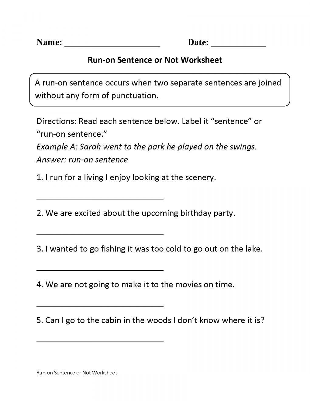 Run On Sentence Worksheet Pin On 4th Grade Worksheet