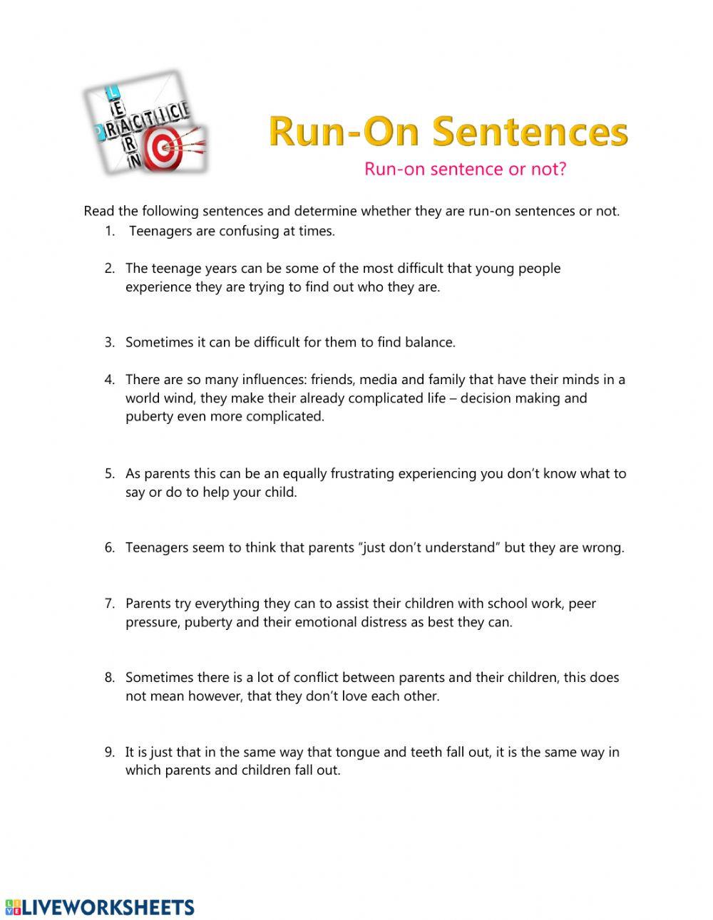 Run On Sentence Worksheet Run On Sentences Interactive Worksheet
