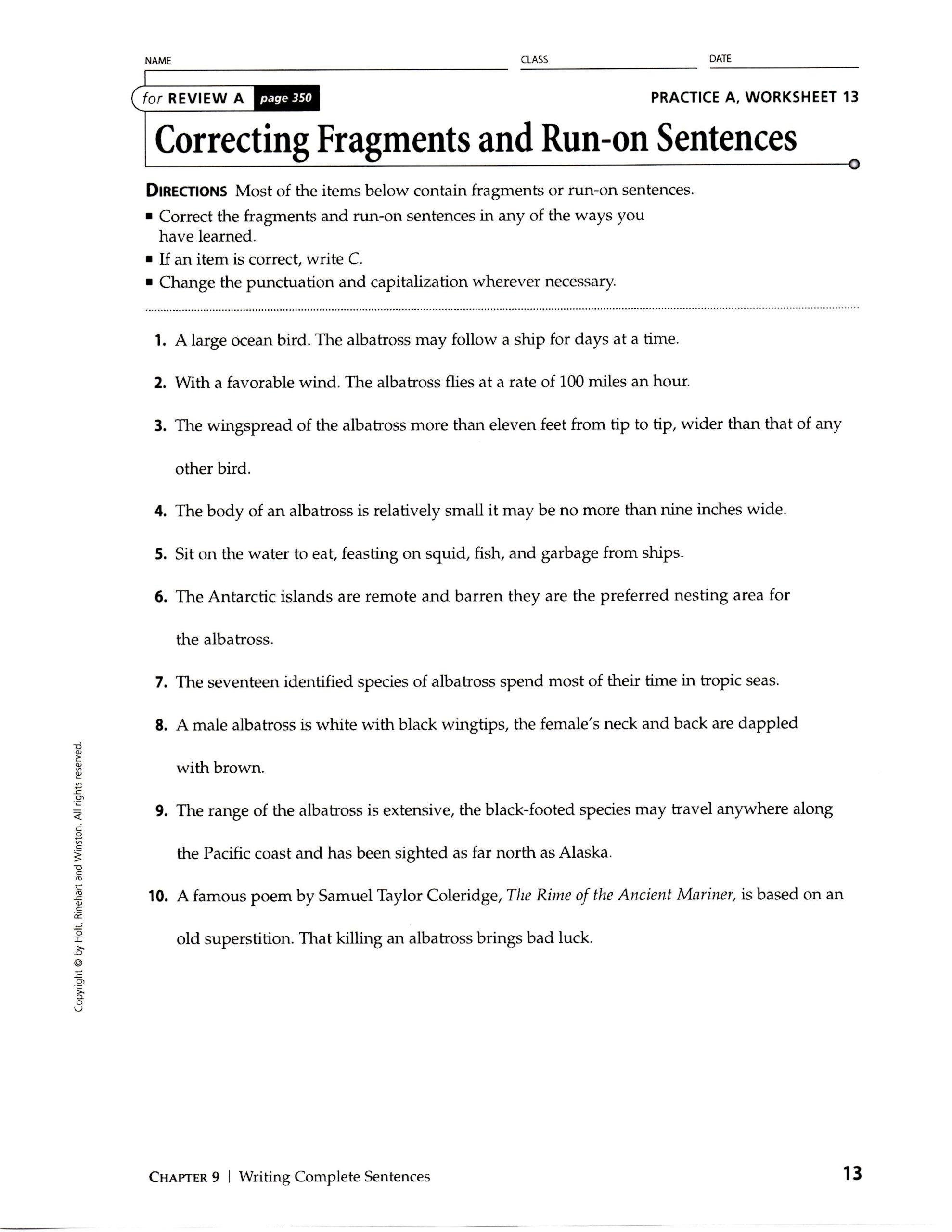 Run On Sentence Worksheet Run Sentence