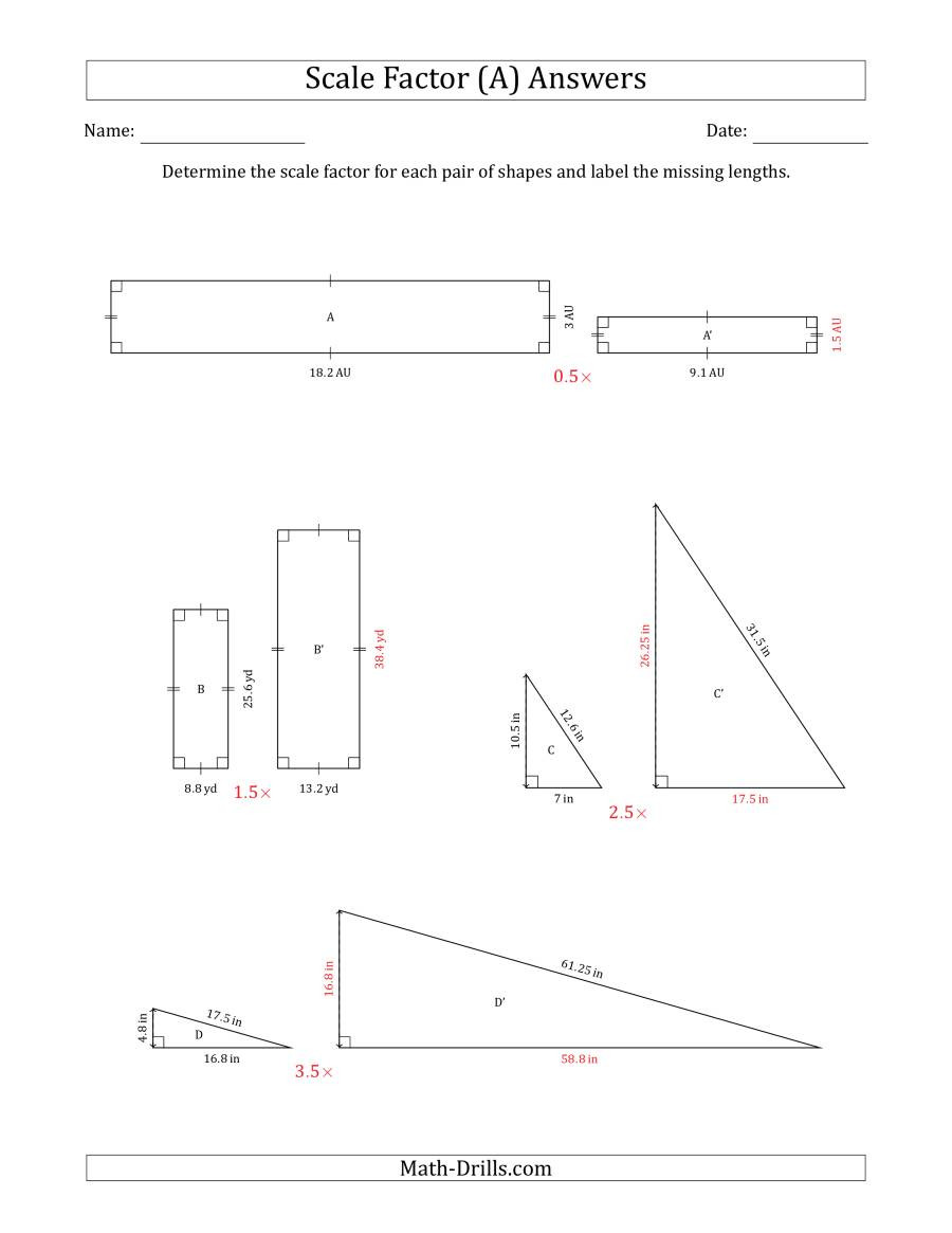 Scale Factor Worksheet with Answers Determine the Scale Factor Between Two Shapes and Determine