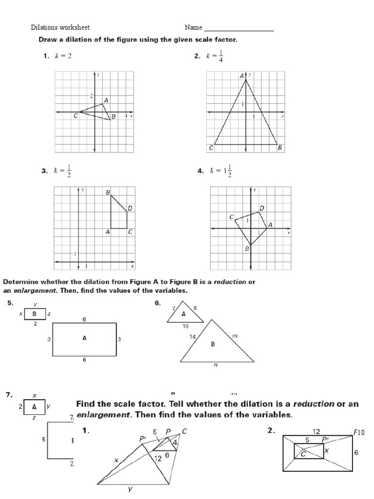 Scale Factor Worksheet with Answers Dilations Ws 2