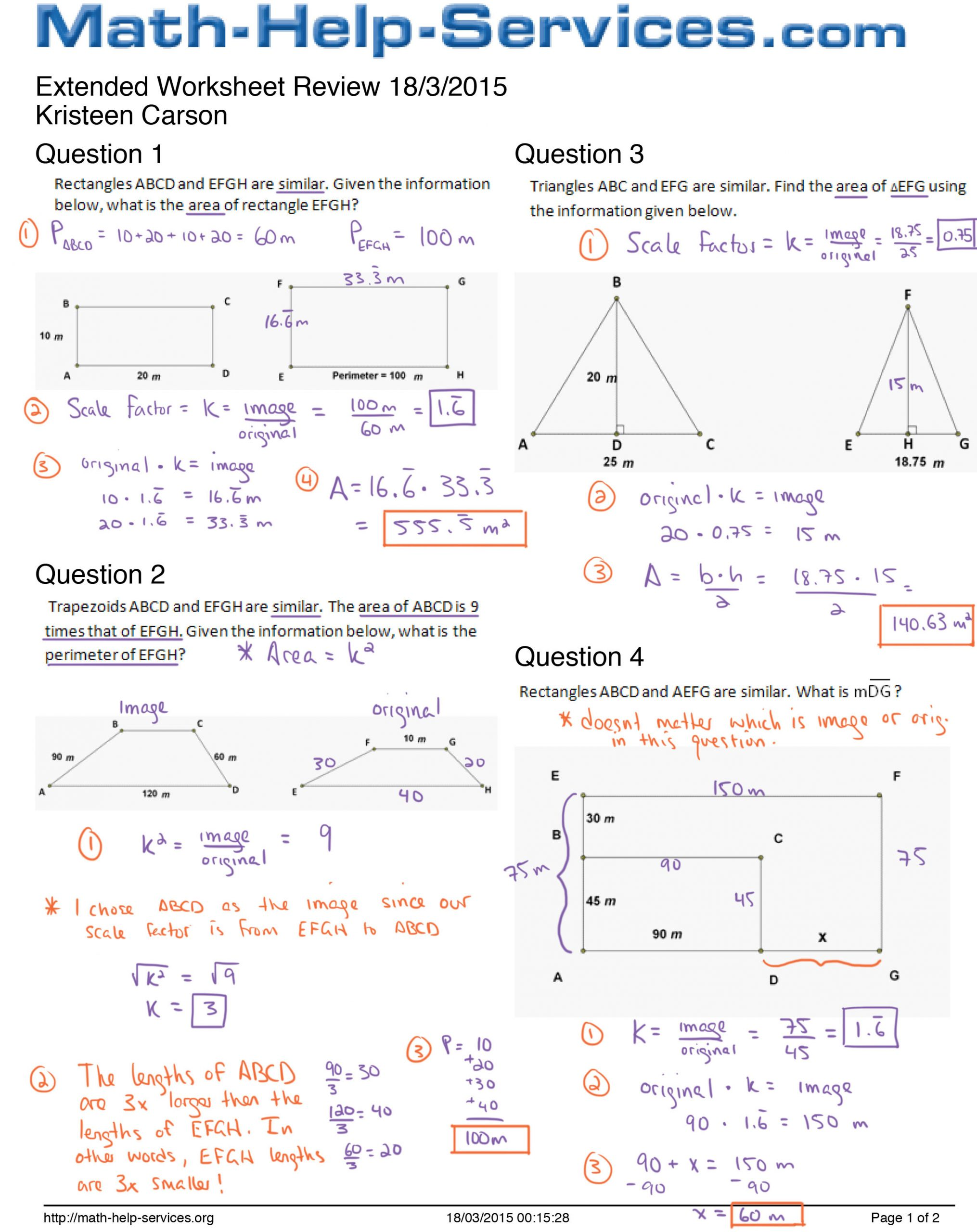 Scale Factor Worksheet with Answers 部落格封存檔 Mr Seccareccia S Math