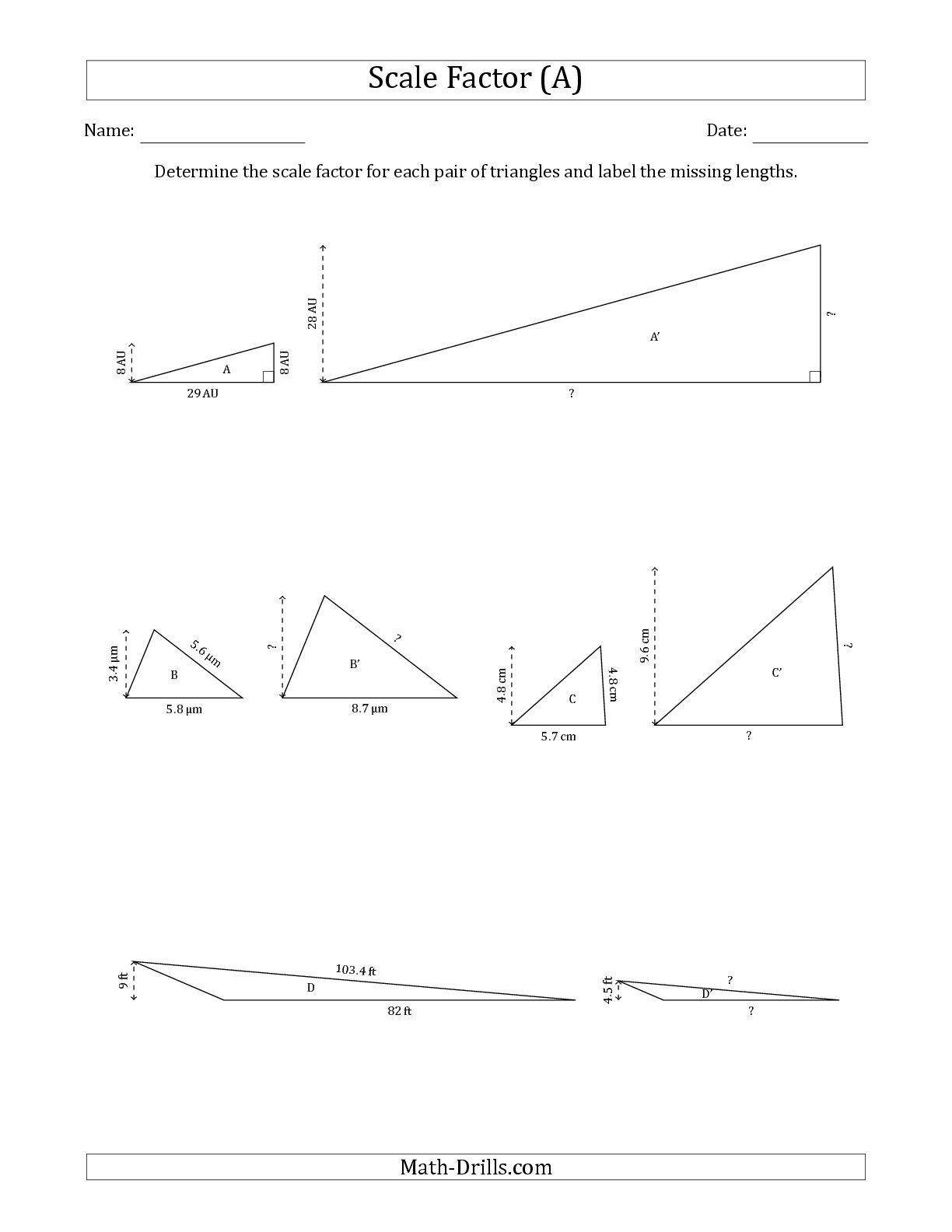 Scale Factor Worksheet with Answers the Determine the Scale Factor Between Two Triangles and