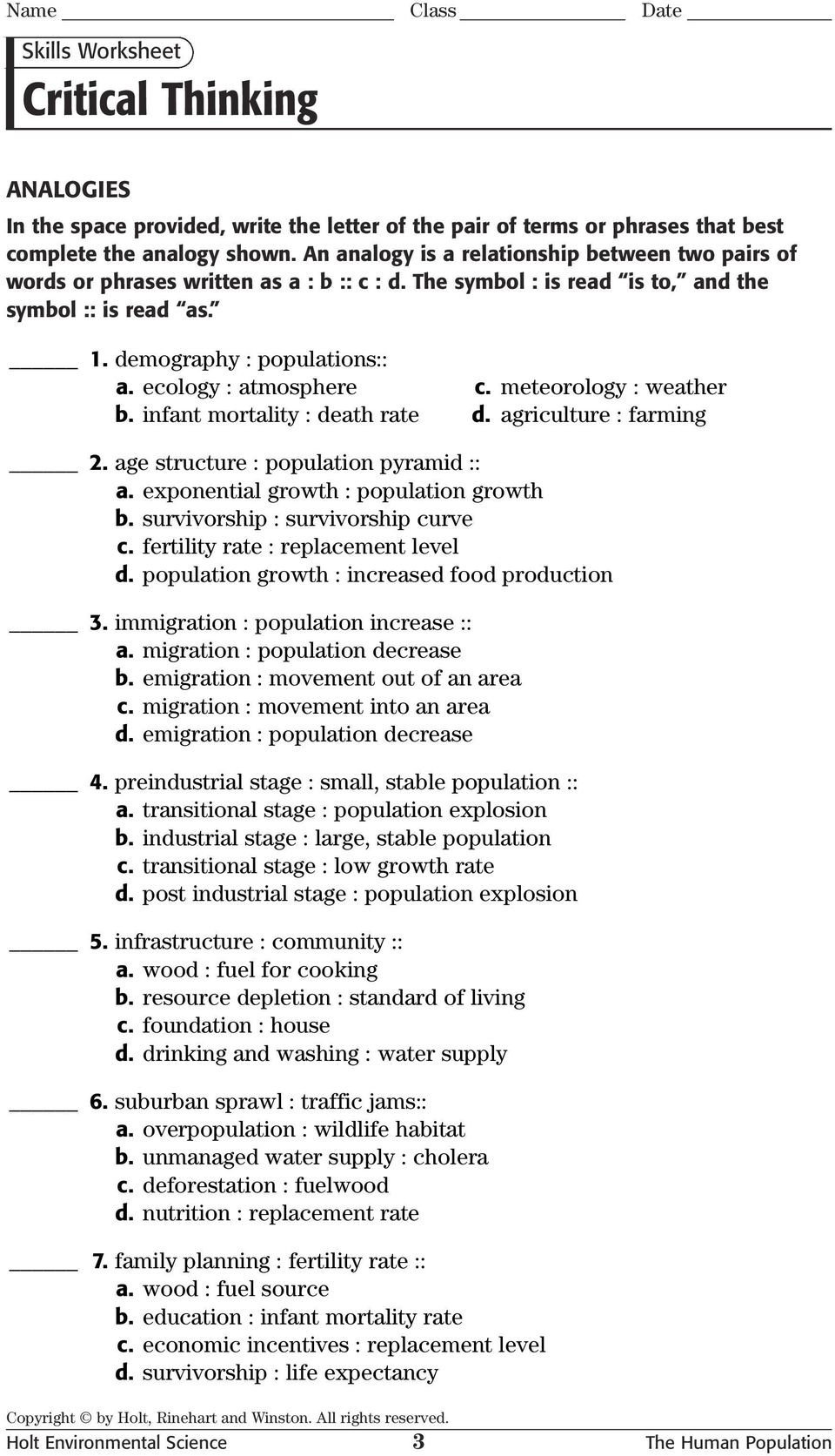 Science Skills Worksheet Answer Key Critical Thinking Analogies Skills Worksheet Pdf Free