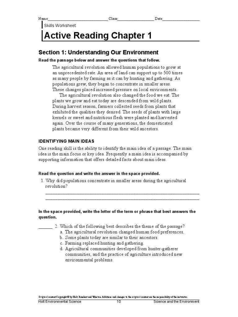 Science Skills Worksheet Answer Key Holt Environmental Science Skills Worksheet Answer Key